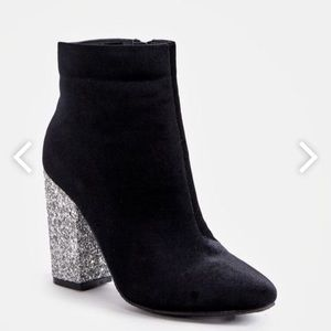 JustFab Besha Booties with Silver Glitter Heels